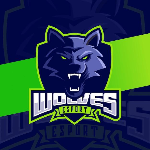 Wolfskopf maskottchen esport logo design