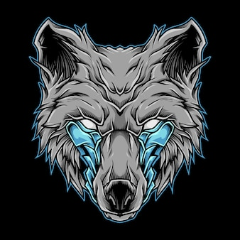 Wolfskopf maskottchen logo illustration