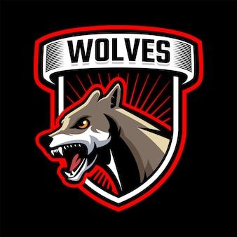 Wolfskopf-maskottchen-logo