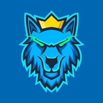 Wolfskopf mit königskronen-logo-design