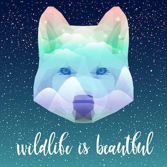 Wolfsporträt und handgeschriebenes zitat. handgemachte tierwelt ist ein schönes zitat, handgezeichneter wolfskopf für design-t-shirt, karte, einladung, broschüren, buch, sammelalbum, album, tätowierung usw. doppelbelichtung.