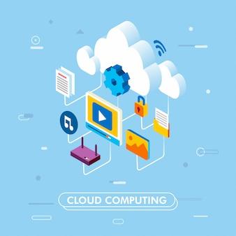 Wolke, die servicetechnologie und isometrische illustration 3d des datenspeichers berechnet