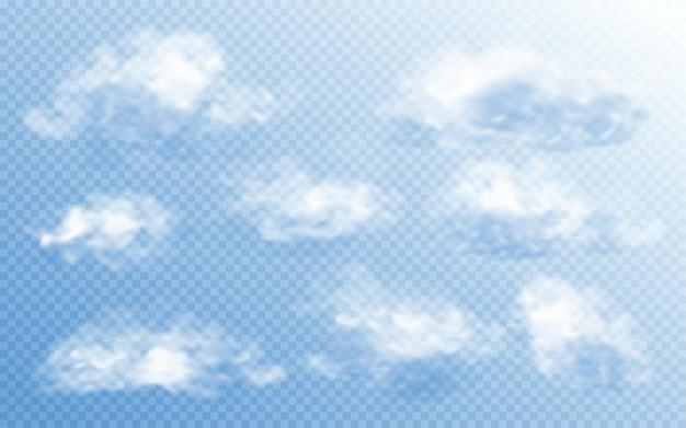 Wolke im realistischen stil auf transparentem hintergrund