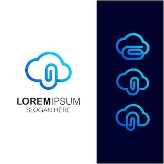 Wolke mit clip-set-logo-design-vorlage