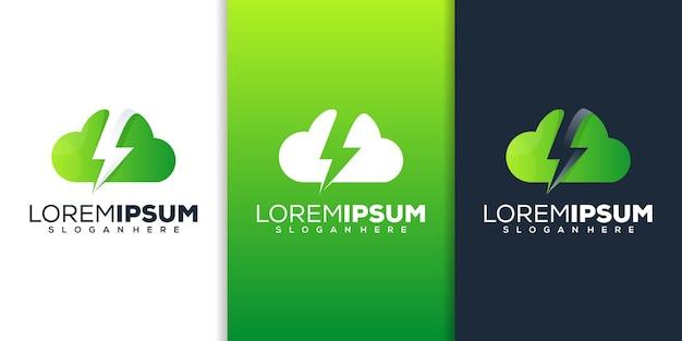 Wolke mit donner-logo-design