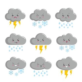 Wolke regen sturm kawaii gewitter cartoon