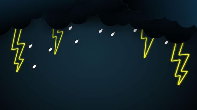 Wolke und regen auf blauem hintergrund starkregen, regenzeithimmel und blitz,
