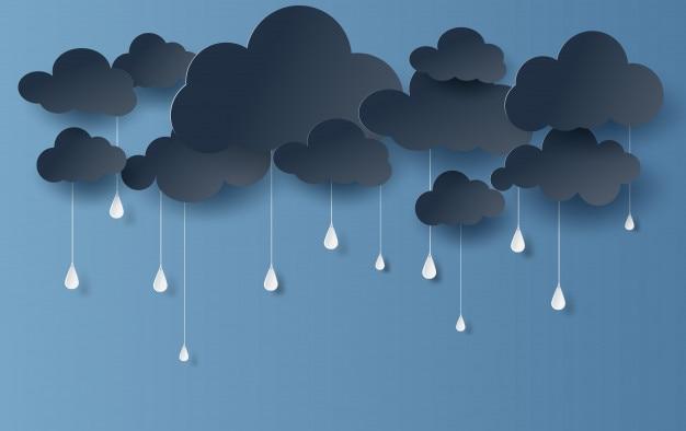 Wolke und regenzeit auf dunklem hintergrund