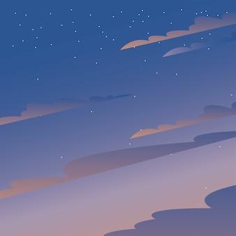 Wolken auf blauem und lila himmel mit sternenentwurf, landschaftsnaturumgebung und thema im freien
