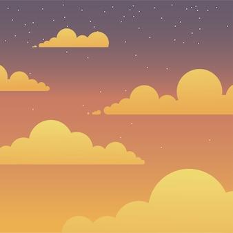 Wolken auf lila rosa und orange himmel design, landschaft naturumgebung und outdoor-thema