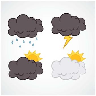 Wolken-gesetzter wetter-element-gesetzter sammlungs-flaches design-vektor