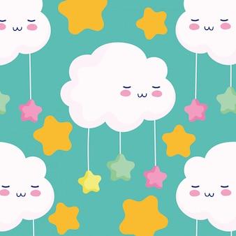 Wolken hängende sterne träumen magische karikaturdekorationsvektorillustration