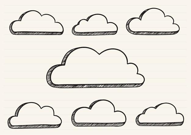 Wolken kritzelten auf einen notizblock