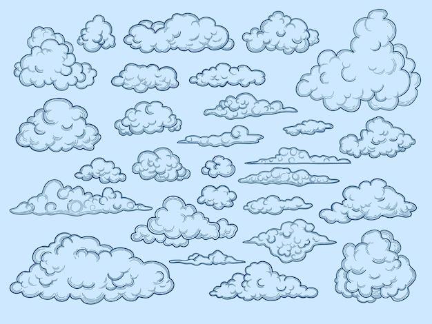 Wolken skizzieren. dekorative himmelselemente wetterwolken wolkenlandschaft vintage-stil. wolkensammlungsdesign, bewölkte altmodische skizzenillustration