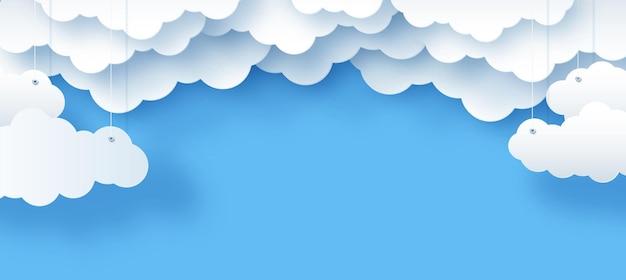 Wolken und die sonne auf einem blauen hintergrund kindervektorillustration des himmels