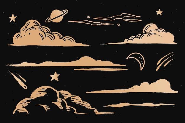 Wolken und himmel goldener weltraum-doodle-aufkleber