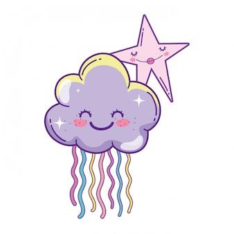 Wolken und niedliche cartoons
