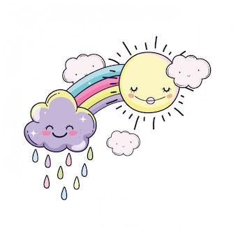 Wolken und regenbogen-cartoon
