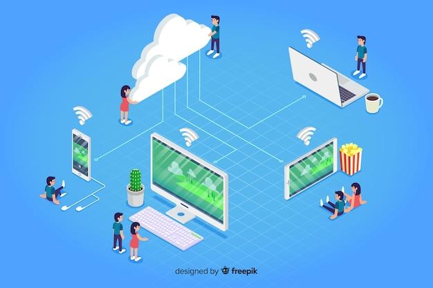 Wolken- und technologieelemente in der isometrischen art