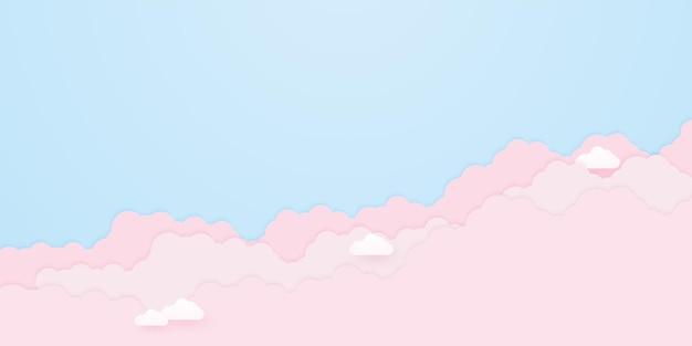 Wolkengebilde, blauer himmel mit rosa wolken, papierkunststil
