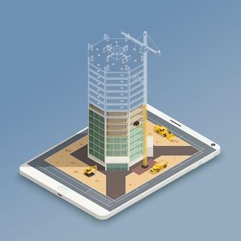 Wolkenkratzer-aufbau-isometrische zusammensetzung