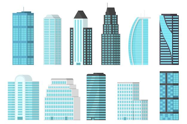 Wolkenkratzer der stadt lokalisiert auf weißem hintergrund. wolkenkratzer mit glitzernden glasfassaden im stadtzentrum. moderne wohnung