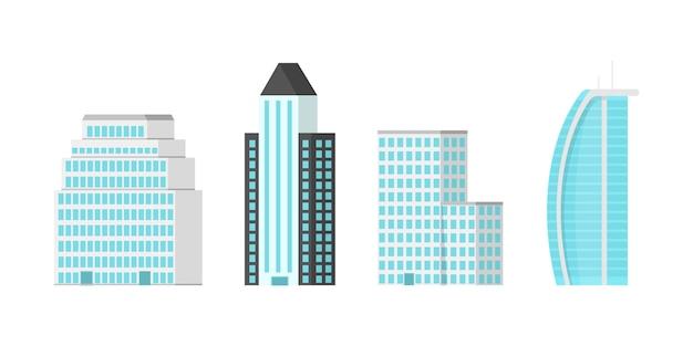 Wolkenkratzer der stadt lokalisiert auf weißem hintergrund. wolkenkratzer mit glitzernden glasfassaden im stadtzentrum.