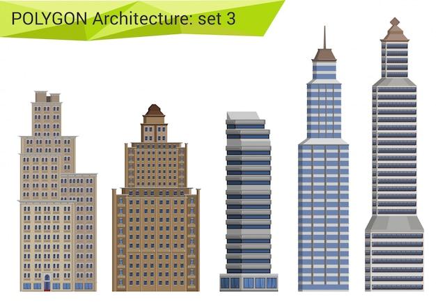 Wolkenkratzer, stadthäuser und gebäude im polygonalen stil gesetzt.