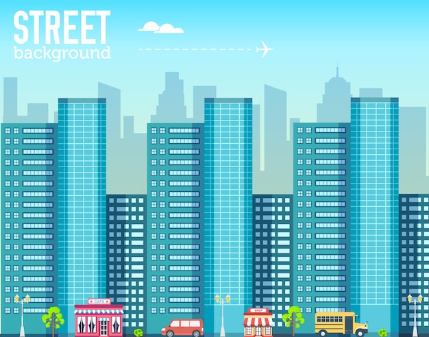 Wolkenkratzergebäude im stadtraum mit straße auf flachem stilhintergrund
