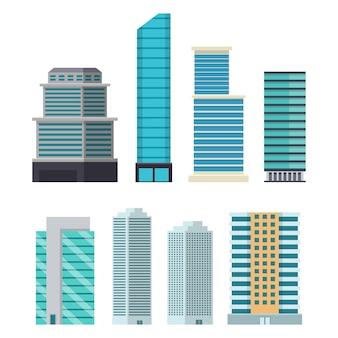 Wolkenkratzerstadtgebäude lokalisiert auf weißem hintergrund