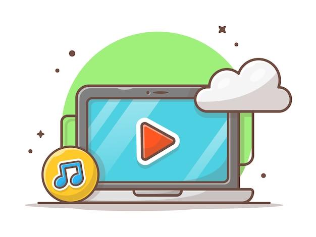 Wolkenmusik-ikone mit laptop und anmerkung der musik-ikone. arbeitsplatz-ton-wolken-weiß lokalisiert