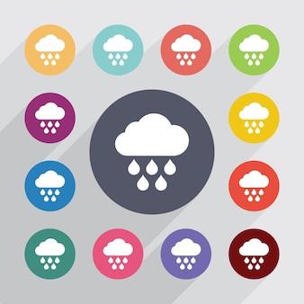 Wolkenregen, flache symbole gesetzt. runde bunte knöpfe. vektor