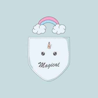 Wolkenregenbogen-einhorn in der hemdtaschenillustration