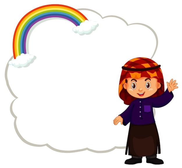 Wolkenschablone mit winkender hand des glücklichen jungen