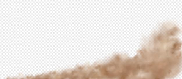 Wolkenstraßenstaub vom auto. rauchspur von auto oder motorrad mit schneller bewegung. sandsturmbewölkung isoliert transparenter effekt.