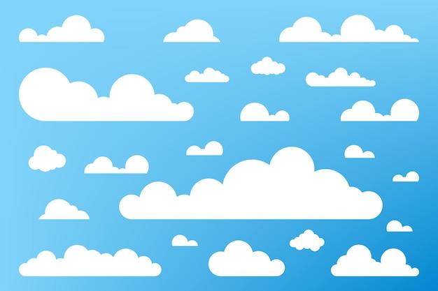 Wolkensymbol, wolkenform. satz verschiedene wolken. sammlung von cloud-symbol, form, etikett, symbol. grafischer elementvektor. vektorgestaltungselement für logo, web und print