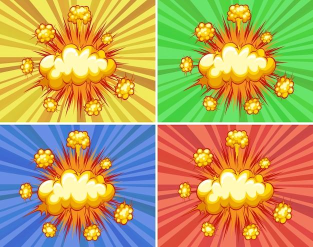 Wolkexplosionen mit unterschiedlichem farbigem hintergrund