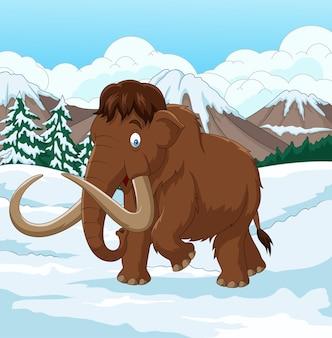 Wolliges mammut der karikatur, das durch ein schneebedecktes feld geht
