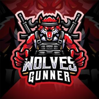 Wolves gunner esport maskottchen logo design