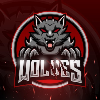 Wolves maskottchen esport illustration