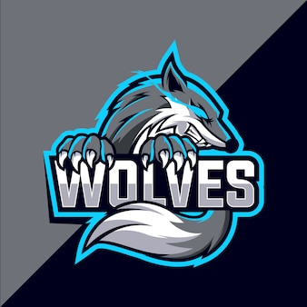 Wolves maskottchen esport logo design