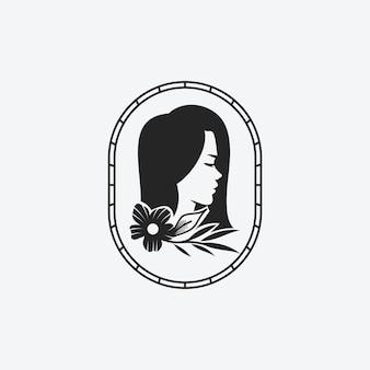 Woman beauty face log, schönheitsstudio, kosmetikmarke