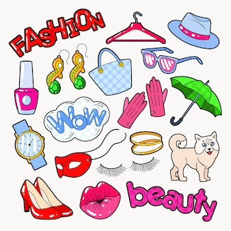 Woman fashion doodle mit accessoires und kleidung