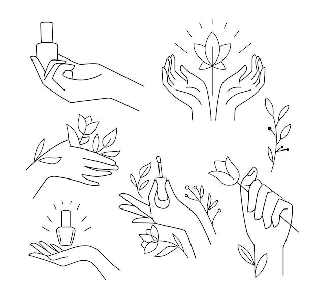 Womans hand collection line hände verschiedener gesten