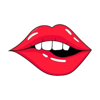 Womans rote lippen sexy mund küssen cartoon-stil handgezeichnete vektor-illustration