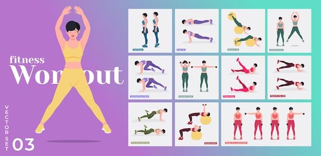 Women workout set frauen machen fitness- und yogaübungen