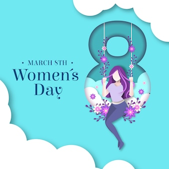 Womens day design im papierstil