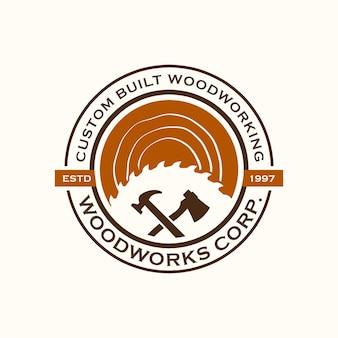 Wood industries firmenlogo im vintage-stil