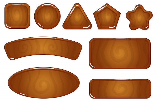 Wooden icon game asset