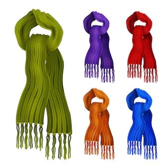 Woolen gestrickte schals in den dekorativen ikonen der verschiedenen farben eingestellt